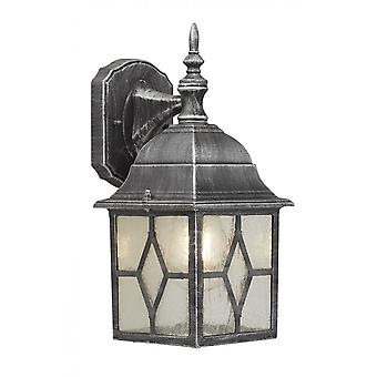 THLC Traditional Leaded Style Glass Outdoor Wall Lantern Light In A Black Silver Finish