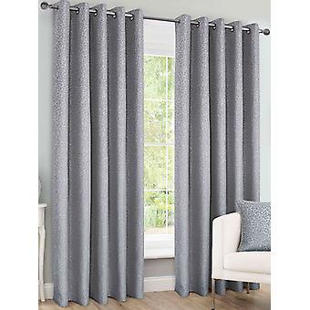 Belle Maison Lined Eyelet Curtains, Sahara Range, 46x90 Silver