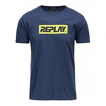 Replay Print Logo Crew Neck T-Shirt Navy M3003