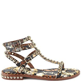 Ash PLAY BIS Sandals Brown Leather & Print