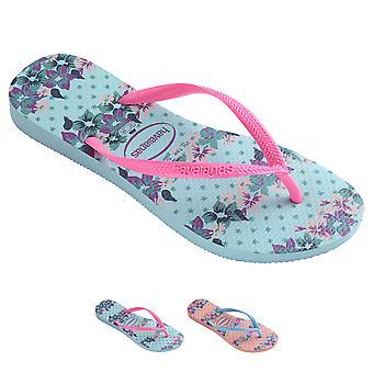 Womens Havaians Slim Provence Floral Rubber Jelly Shoes Beach Flip Flops