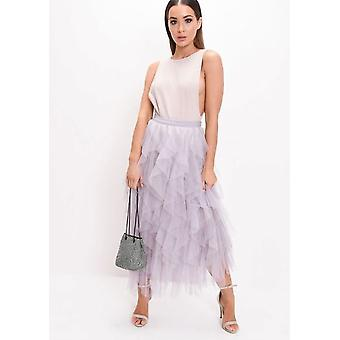 Alta vita Layered Tulle Increspature Midi Skirt Grey