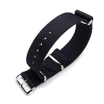 Strapcode n.a.t.o orologio cinghia miltat 18mm o 24mm g10 militare orologio cinghia balistica bracciale in nylon, lucido - nero