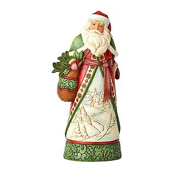 Christmas Is Calling Santa with Satchel and Winter Scene Figurine