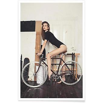 JUNIQE Print - Muslauf - Fashion Photography Poster in Brown & Cream White