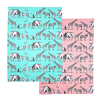 Dexam Safari Set of 2 Tea Towels, Mint & Blush