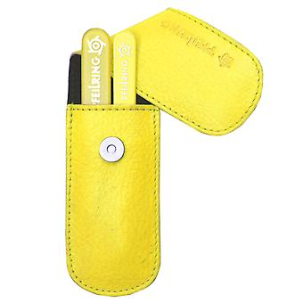 Arrow ring manicure case, nappa leather yellow, 2-piece assembly