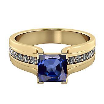 14K Gelb Gold 2,20 Ctw blauen Saphir-Ring mit Diamanten Brücke Kanal set Prinzessin