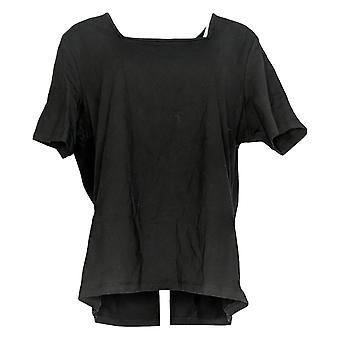 Denim & Co. Frauen's Jersey kurze Lven Platz Hals Top schwarz A200149