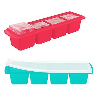 Slim, Silicone Ice Cube Tray with Lid, Extra Large Ice Cubes (2 Tray Pack)