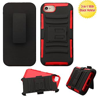 Custodia Asmyna Advanced Armor Stand con Holster per iPhone SE2/8/7 - Nero/Rosso