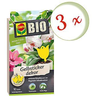 Sparset: 3 x COMPO BIO gele sticker decor, 10 stuks