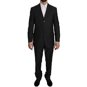 Z Zegna Dark Gray Striped Two Piece 3 Button Wool Suit KOS1511-48