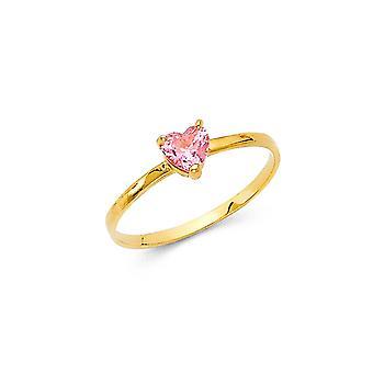 14k sárga arany fiúk és lányok CZ cubic cirkónia szimulált gyémánt gyűrű mérete 3 - 0,7 gramm