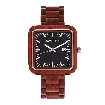 Earth Wood Berkshire Bracelet Watch w/Date - Red