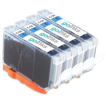 4 syaani-mustekasettia Canon CLI-8C -yhteensopivan/ei-OEM-laitevalmistajan korvaamiseksi Go Inksistä