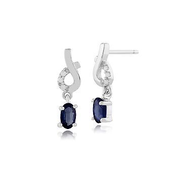 Classic Oval Light Blue Sapphire & Diamond Drop Earrings in 9ct White Gold 117E0107039