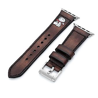 Strapcode calf leather watch strap 24mm dark brown handmade apple iwatch quick release leather watch strap - minimalist snoopy