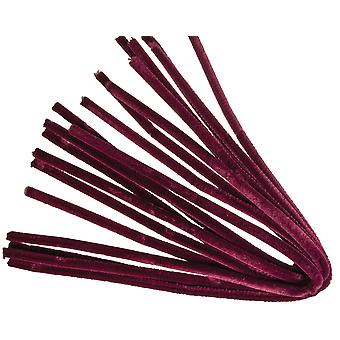 10 Wine Red 9mm Chunky Extra Long 50cm Pipe Cleaners | Chenille Stems