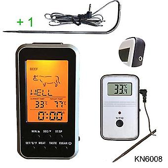 Digital Bbq Thermometer Wireless - Kitchen Oven Food Cooking Grill Smoker Meat Thermometer With Probe And Timer Temperature Alarm