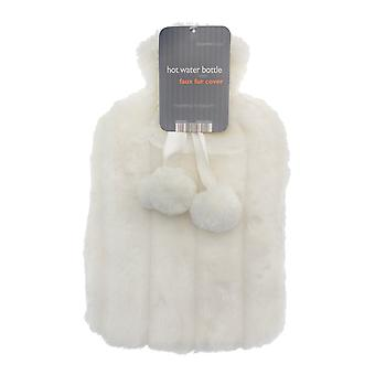 Country Club Hot Water Bottle with White Faux Fur Cover