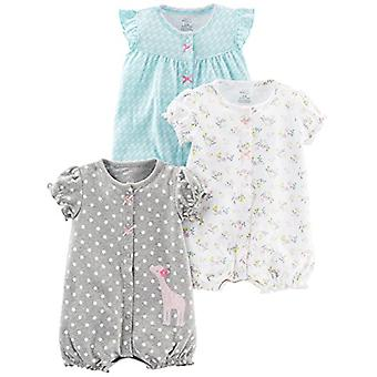 Simple Joys by Carter's Baby Girls' 3-Pack Snap-up Rompers, Blue Swan/White F...