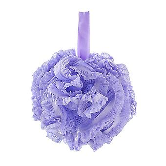 Nylon Lace Edge Home Bath Flower Ball Purple 15CM