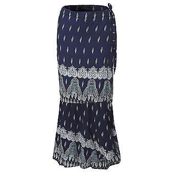 Bohemian women split printed skirts high waist beach wrap long skirts