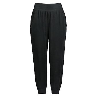 Anybody Women's Petite Pants Cozy Knit Ribbed Joggers Black A365607