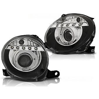 Koplampen met parkeerlicht FIAT 500 07-15 PROJEKTOR ZWART LED