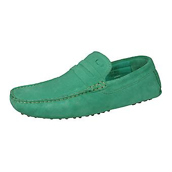 Base London Morgan Mens Slip On Suede Driving Loafers / Shoes - Aqua Green