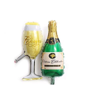 בקבוק יין & זכוכית - חצי גבול אלומיניום סרט בלון עבור קישוט המפלגה