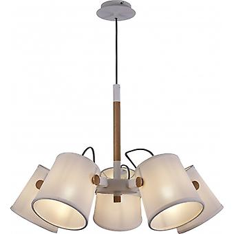 Mantra Nordica Ii Pendant Lamp 5 Light White/beech With White Shades