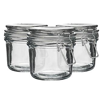 Argon Tableware Glass Storage Jars with Airtight Clip Lid - 350ml Set - Clear Seal - Pack of 3