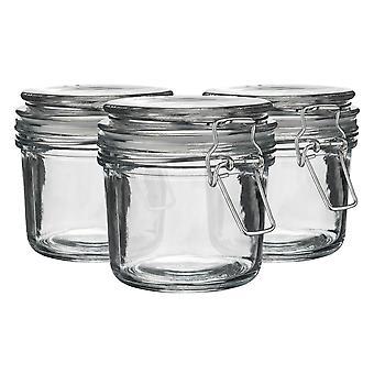 Argon Bordservice Glas Opbevaring Krukker med lufttæt klip låg - 350ml Sæt - Clear Seal - Pack af 3