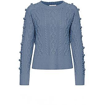 b.young Melissa Modrý kabel knit jumper