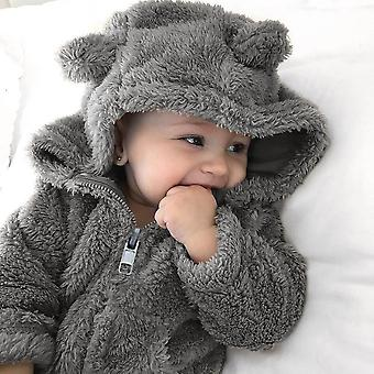 Newborn Baby Fur Hoodie Solid Winter Warm Coat Jacket Cute Thick Clothes Soft Home