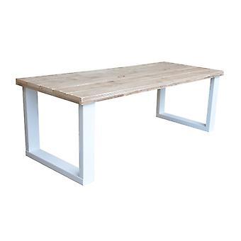 Wood4you - Eettafel New England steigerhout wit 180Lx78Hx90D cm (U-poot)
