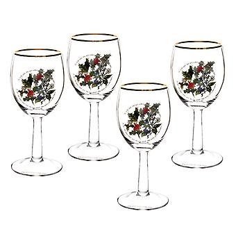Portmeirion Holly and the Ivy Wine Glasses Set of 4