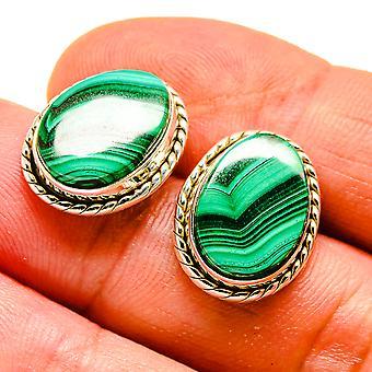 """Malachite Earrings 3/4"""" (925 Sterling Silver)  - Handmade Boho Vintage Jewelry EARR408062"""