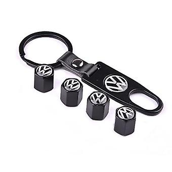 Set Of 4 Chrome Anti-Theft Car Tyre Air Dust Valve Stem Cap With Keyring Spanner For Volvo