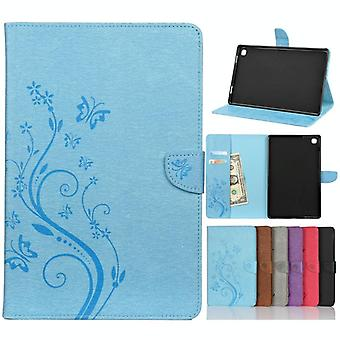 For Samsung Galaxy Tab A7 10.4 (2020) T505 Butterfly Flower Embossing Pattern Horizontal Flip Leather Case with Holder & Card Slots & Wallet(Blue)