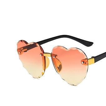 Child Cute Heart Rimless Frame Sunglasses, Fashion Uv400 Protection Eyewear
