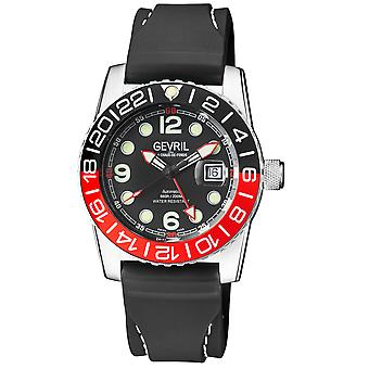 Gevril Canal Street Men's Swiss Automatic Black Dial Black Silicon Strap Watch