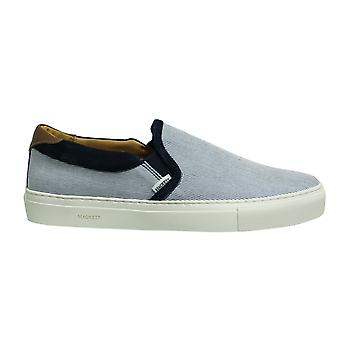 Hackett London Bonetti Stripe Navy Brown Slip On Mens Cupsole Shoes HMS20811 595