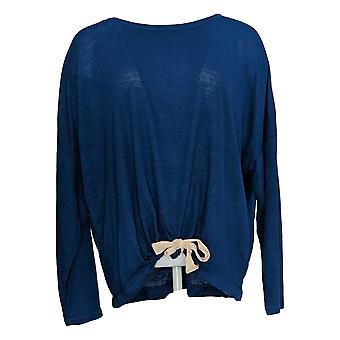 Belle Beach By Kim Gravel Women's Top Breezy Knit Drawstring Blue A378637