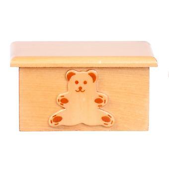 Casa de muñecas oso de peluche caja de juguete pecho otomano roble claro muebles de guardería