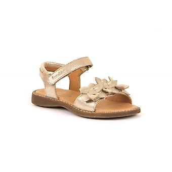 FRODDO Leather Sandal With Flowers Gold