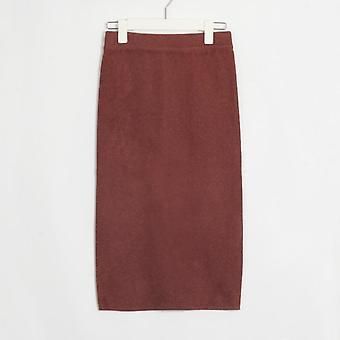 Γυναικεία πλεκτά ίσια Φούστες, Βασικές Κυρίες Υψηλή Μέση, Γόνατο-μήκος,