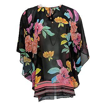 Susan Graver Women's Top Regular Floral Print Chiffon Scarf Black A373163